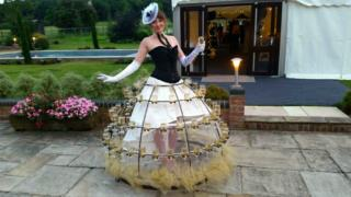 Black and white champagne skirt at event entrance