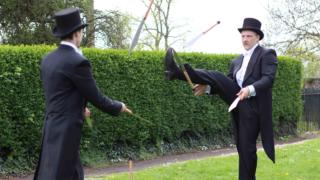 Gentlemen knife jugglers