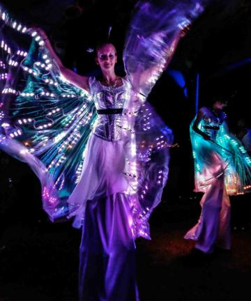 Glow Butterfly Stilt Walkers