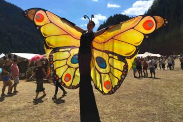 Helter Skelter fetes and community yellow butterfly